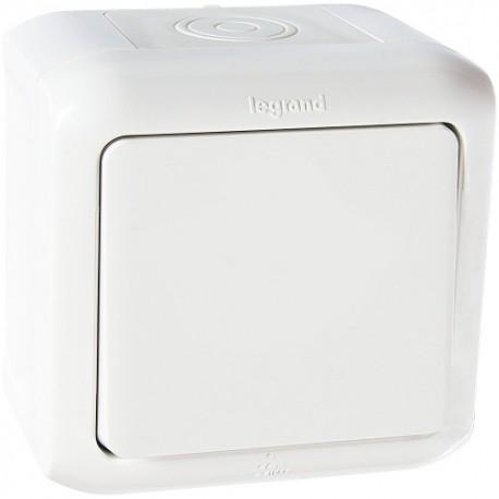 Legrand Quteo Выключатель 1-клав 10А 250В IP44 Белый