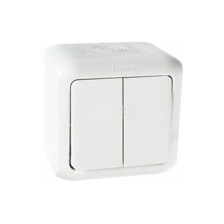 Legrand Quteo Выключатель 2-клав 10А 250В IP44 Белый