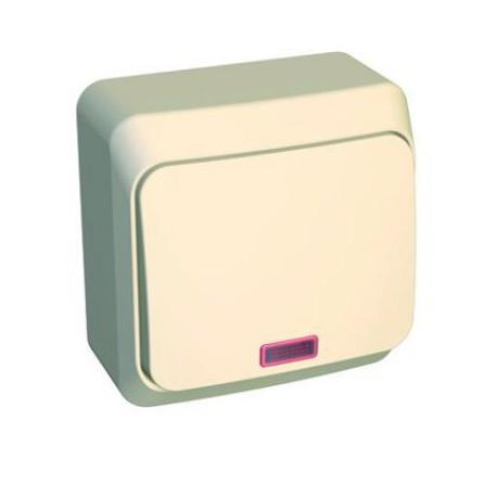 Schneider Electric Этюд Выключатель 1-клав проходной с подсветкой 10А IP20 Крем