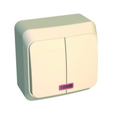 Schneider Electric Этюд Выключатель 2-клав с подсветкой 10А IP20 Крем