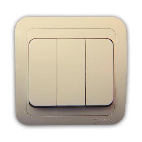 Makel Mimoza Выключатель 3-клав 10А IP20 Крем
